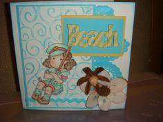 Beach fun card, Magnolia Tilda and Edwin stamps (front of card)
