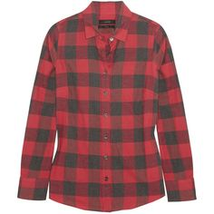 J.Crew Jude plaid brushed cotton-blend shirt ($145) ❤ liked on Polyvore