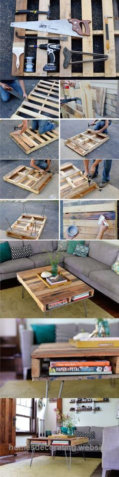 Easy Diy Home Decor Projects Diy Pallet Furniture Tutorial Cheap Coffee Table Ideas Diy Projects And Diy Home Decor Projects, Easy Home Decor, Cheap Home Decor, Upcycling Projects, Decor Ideas, Craft Projects, Craft Ideas, Room Ideas, Decorations For Home