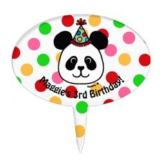 #Personalized Big Face Panda Cartoon Birthday Cake Topper - #giftideas for #kids #babies #children #gifts #giftidea