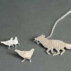 Fox Necklace & Chickens Pins Set  (Silver) Fox, Jewellery, Silver, Jewels, Jewelry Shop, Money, Schmuck, Foxes, Jewelery