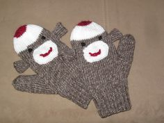 Free Knitting Pattern for Sock Monkey Mittens! These are so cute! They'd make a great gift!