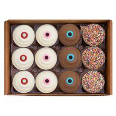 3 red velvet, 3 vanilla, 3 dark chocolate, 3 sprinkle Sprinkle Cupcakes, Yummy Cupcakes, Brownie Cookies, Cupcake Cookies, Chocolate Box, Chocolate Brownies, Delivery Menu, Cupcake Boxes, Gifts Delivered
