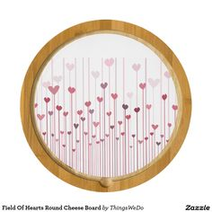 Field Of Hearts Round Cheese Board