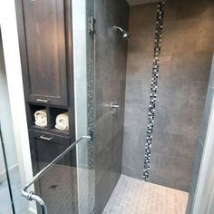 Master Bath + Tiled Shower + Linen Cabinet - modern - bathroom - portland - Jordan Iverson Signature Homes (small strip of glass tiles) Master Bath Tile, Modern Master Bathroom, Bath Tiles, Bathroom Tiling, Room Tiles, Bathroom Renos, Laundry In Bathroom, Small Bathroom, Bathroom Ideas
