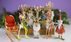 Dash Away Reindeer with Santa & Sleigh Ornaments, Set of 10 | Patience Brewster