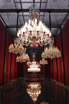 Baccarat celebrates 250 years at the Petit Palais this would be an amazing swimming pool. Baccarat Chandelier, Baccarat Crystal, Antique Chandelier, Chandelier Lighting, Crystal Chandeliers, Chandelier Ideas, Lustre Antique, Lampe Art Deco, Beautiful Interiors