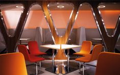 We are a global and creative design studio in Geneva, Tokyo and Beijing. Orange Chairs, Osaka Japan, Japanese Food, Hospitality, Triangle, Tables, Chandelier, Ceiling Lights, Interior