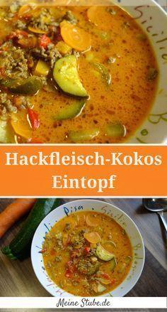 Hackfleisch-Kokosmilch-Eintopf mit Gemüse, Zucchini, Karotten, Paprika und Tomaten. Mit Kurkuma gewürzt und Kräutern (minced meat with coconut milk, soup)