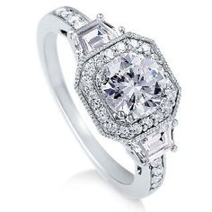 Sterling silver ring round cubic zirconia ring 2.1 ct. Nickel free engagement wedding ring size 7.