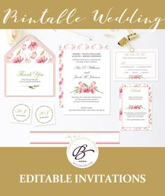 Pink Floral Thank You Card Template Printable Wedding Thank You - Garden wedding invitations templates