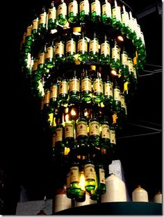 Whiskey Bottle Chandelier too cool for words