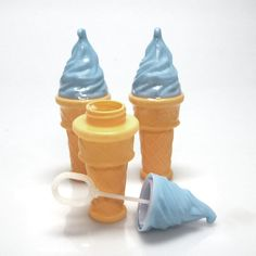 Ice Cream Cone Bubbles Bottle, 5-inch, 3-pack, Blue
