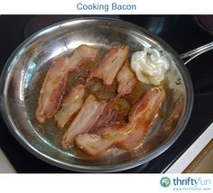 This is a guide about cooking bacon. Cooking bacon can be a very messy job. There are alternatives to cooking bacon in a frying pan that can help reduce the mess.