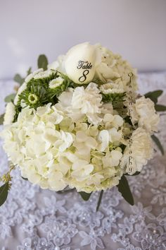 Short centerpiece with our table number print