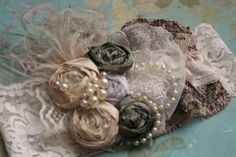 Shabby Chic Headband Flowers and Burlap by AldonasBoutique on Etsy,