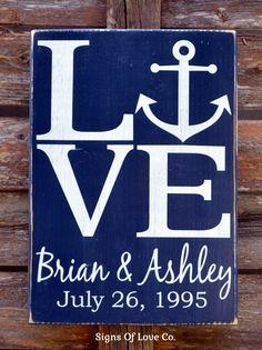 LOVE Anchor Sign Nautical Reclaimed Wood Beach Wedding Decor