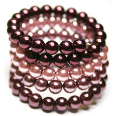 Beaded Memory Wire Bracelet. Pearl, Raspberry, Pink and Burgundy!