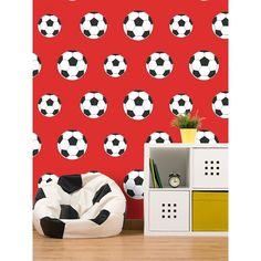 Football themed wallpaper Perfect for footy fans! Ideal for bedrooms, playrooms and dens