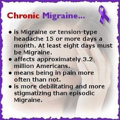 Migraine - Chronic Migraine...time 4 Zoomig. Can't handle this any more. --------- What do migraines have to do with Gluten and Peanuts?  That's how I react to gluten or peanut exposure.  It took over 30 years before my root cause was identified. This knowledge has been so 'freeing' for me.