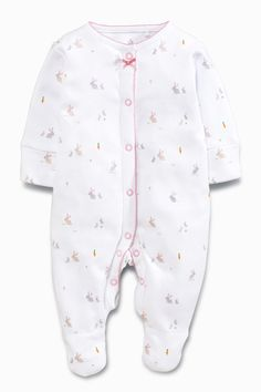 Set Of 2 Next Bunny Baby Grows Sleepsuits Girls First Size 0-3 High Quality Girls' Clothing (0-24 Months)