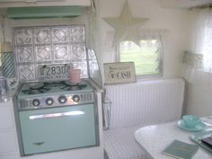 Aqua and White Vintage Travel Trailer, LOVE!!