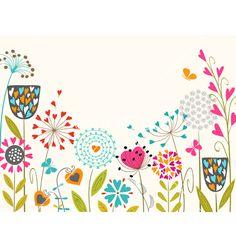 Floral spring design vector. Garden by fireflamenco on VectorStock®