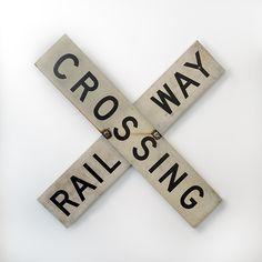 DIY a vintage railroad crossing sign for a vintage inspired train nursery or big boy room. Diy Vintage, Vintage Room, Vintage Signs, Vintage Style, Vintage Ideas, Vintage Travel, Vintage Kitchen, Vintage Inspired, Boy Room