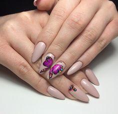 #manicure #gel #nails #pink #nude #batterfly #violet #long #almond #swarovski #paint #handpaint #purple #inspiration