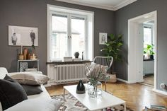 It is definitely all about 50 shades of gray at the moment, film or interior! Ii looks lovely and am quite drawn to the idea of darkis. Home And Living, Living Room, Room Goals, House Wall, Apartment Interior, Cool Rooms, Interior Inspiration, Small Spaces, Family Room