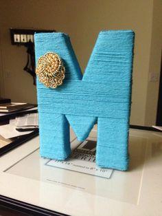 Monogram, letter wrapped in yarn, yarn wrapped letter, diy letter yarn