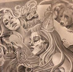 New Tattoo Ideas Female Quotes Inked Magazine Ideas Lettrage Chicano, Chicano Style Tattoo, Chicano Love, Chicano Drawings, Art Drawings, Tattoos Skull, Body Art Tattoos, Leg Tattoos, Sleeve Tattoos