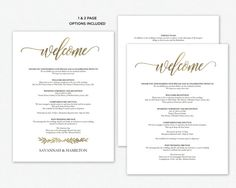 Wedding Welcome Bag Note, Welcome Bag Letter, Printable