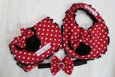 Baby Girl Burp Cloth and Bib Set with Headband- Minnie Mouse with Black Rosebud Minky Back. $28.95, via Etsy.