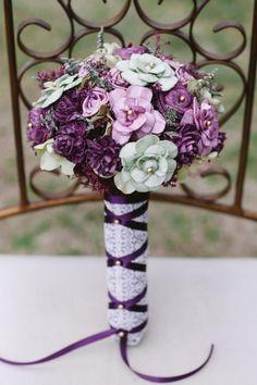 purple paper bouquet #bouquet #bridalbouquet #weddingchicks http://www.weddingchicks.com/2014/03/31/sweet-heirloom-garden-wedding-inspiration/