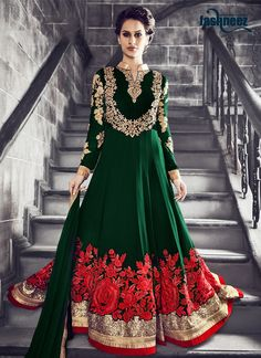 Looking amazing with attachment of green georgette anarkali salwar kameez. The…
