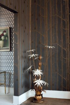 Woods with metalic pears wallpaper by Cole and Son