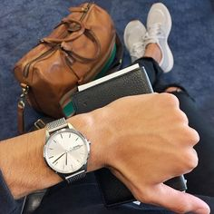 Our C40 day-date watch with Milanese mesh bracelet alongside @gucci and @coach worn by @themetroman @bloombergpursuits #regram #londondesign #swissmade