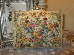 Wonderful Desinger Jolles Micro Petit Point Floral Purse. $135.00, via Etsy.