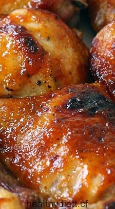 Two Ingredient Crispy Oven Baked BBQ Chicken ~ The crispiest, most perfectly glazed, sweet, sticky, and tender barbecue baked chicken you will ever have.- best BBQ chicken I've used! Oven Baked Bbq Chicken, Baked Chicken Recipes, Turkey Recipes, Meat Recipes, Cooking Recipes, Healthy Recipes, Breaded Chicken, Balsamic Chicken, Baked Bbq Chicken Thighs