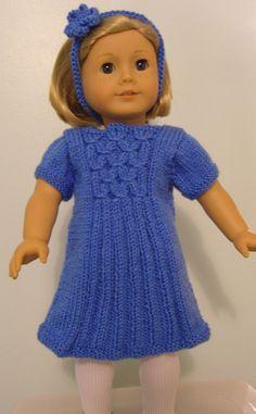 American Girl Doll. Mock Smocked Dress PDF Knitting Pattern No 39