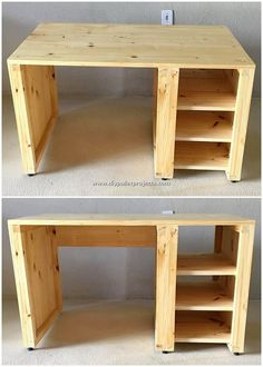 Superior DIY Ideas with Shipping Pallets Wood: All those people who do assume that the usage of the wood pallet in their house renovation functions can cost them with excessive amount. Diy Wood Desk, Pallet Desk, Wood Pallet Furniture, Diy Desk, Woodworking Furniture, Wooden Diy, Wood Pallets, Diy Furniture, Woodworking Projects