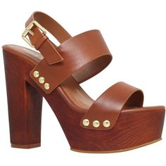 Miss KG Gogo Block Heeled Platform Sandals, Tan ($100) ❤ liked on Polyvore featuring shoes, sandals, heels, high heel sandals, tan sandals, tan heel sandals, high heel platform sandals and platform heel sandals