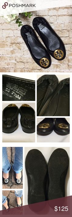 Tory Burch Reva Flats Excellent condition and 100% authentic Classic Black Reva flats with gold emblem. Only worn a couple times, and have very minor scuffing at the front of toe that should be able to be polished away easily, still thought I should mention even though it's not noticeable. I took as many pics as possible from all the angles, but feel free to ask any questions. These are true to size, comfy, will last for years and never go out of style! Tory Burch Shoes Flats & Loafers
