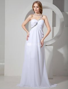 Modern White Chiffon Beading One Shoulder Prom Dress. Gorgeous is the only word to describe this dress. Its made in a traditional sheath style with a one shoulder bodice and sweetheart neckline. The one strap is embellished with intricate beading and crosses the front and .. . See More One Shoulder at http://www.ourgreatshop.com/One-Shoulder-C935.aspx
