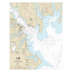 Amazon.com: Annapolis Harbor Chesapeake Bay Nautical Chart printed on sailcloth for home décor wall art print.: Posters & Prints