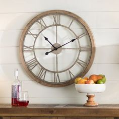 Laurel Foundry Modern Farmhouse Natural Wood Wall Clock Size: Large