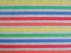 Grey Rainbow Striped Cotton Lycra Knit Fabric
