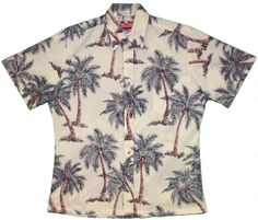 FREE SHIPPING - EVERY ORDER, EVERY DAY!  RJC - Reverse Print Coconut Tree Aloha Shirt (Cream). Coconut shell buttons and matching print engineered chest pocket. Standard Collar, Placket Front, Full Open. Reverse printing is Hawaiis traditional way of manufacturing aloha shirts. Using the reverse side of fabric, its subtle color and pattern is perfect for many occasions from casual to wedding and the office.