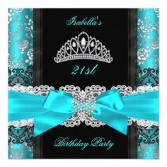 Damask Rose Teal Black White Tiara Birthday Party Personalized Announcements